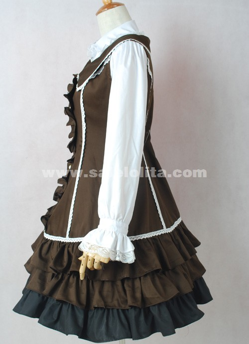 Brand New Brown And White Long Sleeve Ruffled Turn-down Collar Classic Lolita Dress