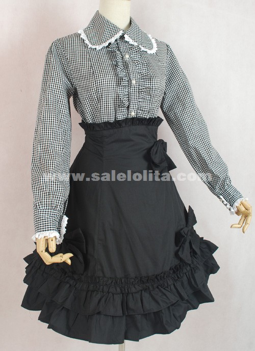 1101a1663de Brand New Gray And White Plaid Skirt Black Long Sleeve Bow Ruffled Punk  Lolita Dress. Loading