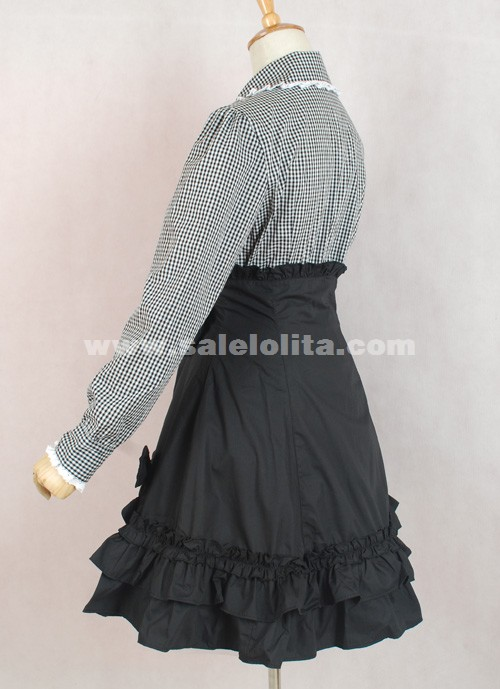 Brand New Gray And White Plaid Skirt Black Long Sleeve Bow Ruffled ...