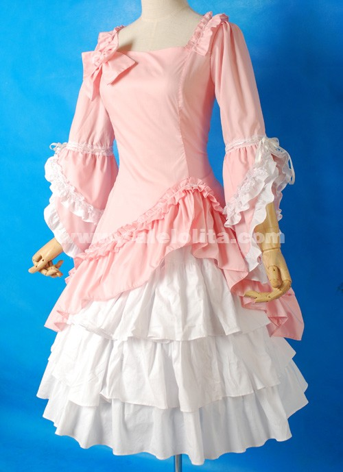 Brand New Pink And White Flare Sleeve Bow Ruffled Sweet