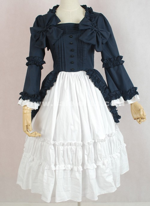 White And Dark Blue Long Sleeve Square Collar Bow Multi layer Cotton Casual Lolita Dress