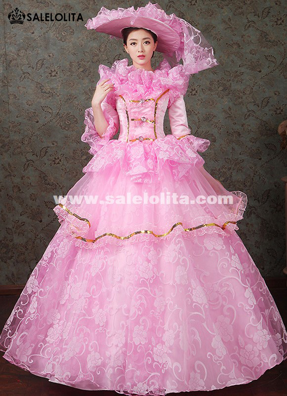 2016 Four Colors Floral Dance Dress Medieval Victorian Marie Antoinette Dress