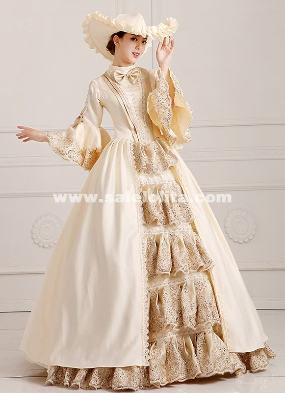 2018 Elegant Champagne Palace Victorian period Marie Antoinette Dress Costume