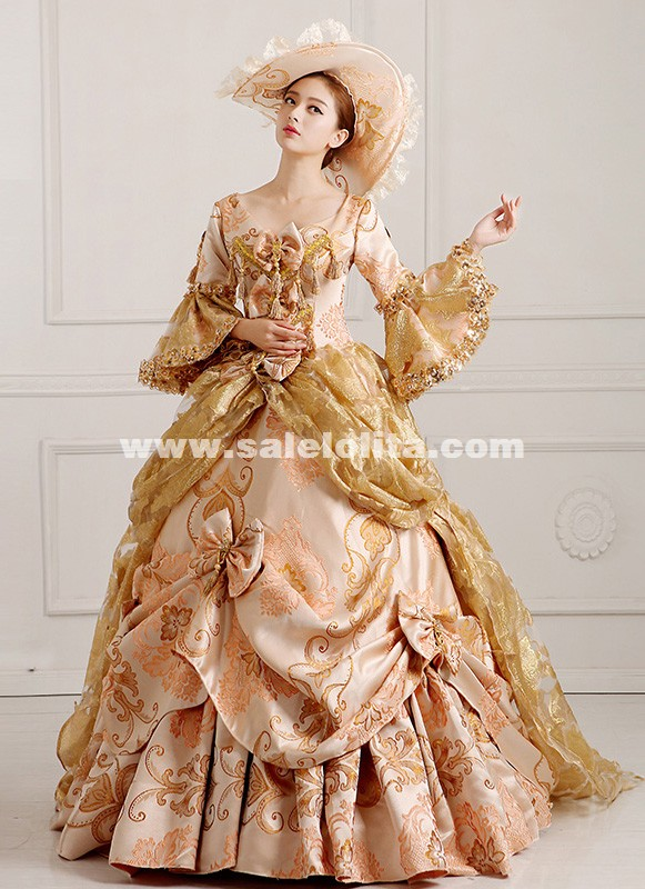 2016 Renaissance Medieval Long Tailing Marie Antoinette Dress Ball Gown Vestido