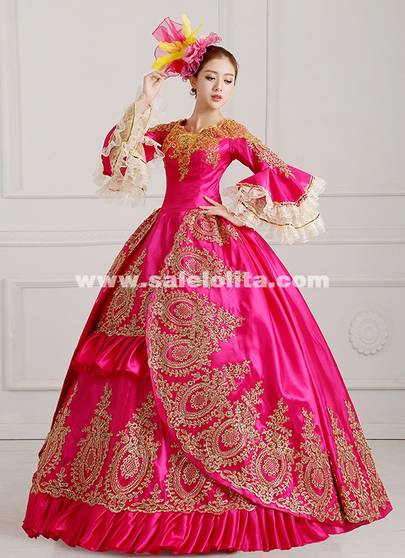 2018 Rose Red Medieval 18th Century Marie Antoinette Victorian Ball Gowns Vestido