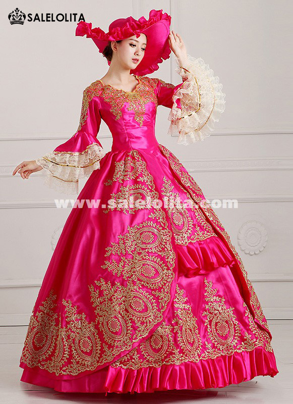 2016 Rose Red Medieval 18th Century Marie Antoinette Victorian Ball Gowns Vestido