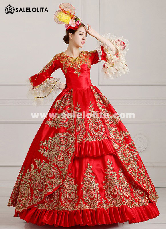 2016 Elengant Red Medieval Victorain Costume 18th Century Marie Antoinette Ball Gowns Dress Vestido