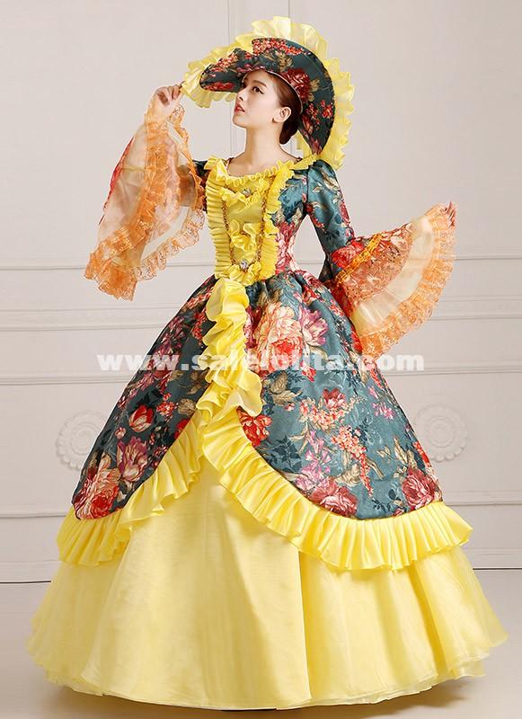 2016 Elegant Floral 18th Century Dress Renaissance