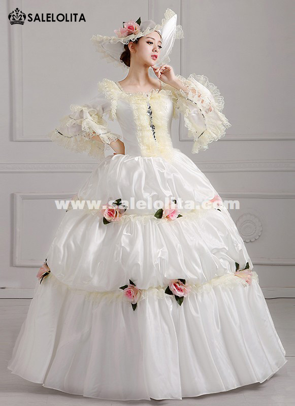 2016 Elegant White Palace Snow Queen Dance Costume Medieval Rococo Marie Antoinette Party Dress