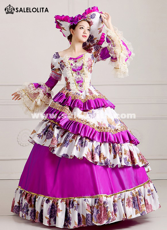 2016 Purple Women Vintage Rococo Marie Antoinette Masquerade Ball Gowns Dress