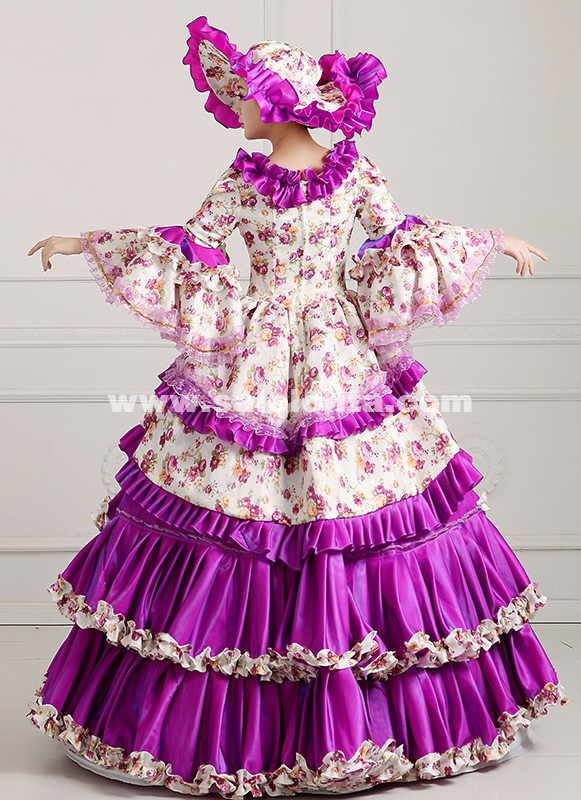 2016 Purple Floral Renaissance Medieval Period Rococo Marie Antoinette Ball Gowns