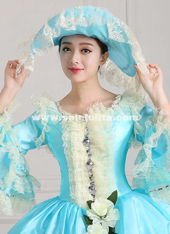 2016 Sky Blue Medieval Rococo Marie Antoinette Ball Gowns Victoian Dress