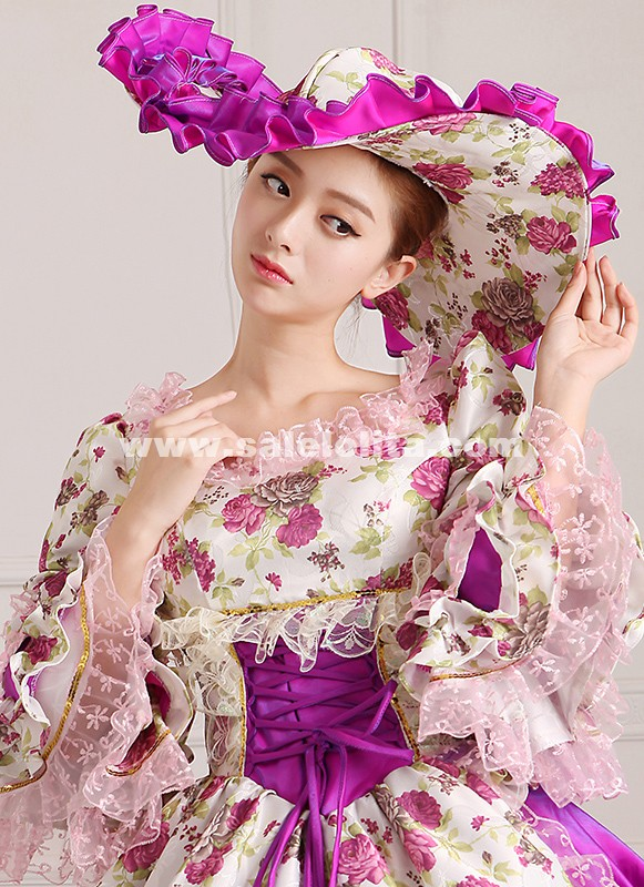 2016 Purple Floral Victorian Rococo Party Dress Medieval Antoinette Princess Dress