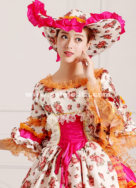2016 Red Floral Renaissance Victorian Party Dress Long Medieval Marie Antoinette Rococo Dress For Women