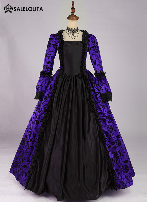 Renaissance Victorian Prom Purple Brocade Dress Gown Party