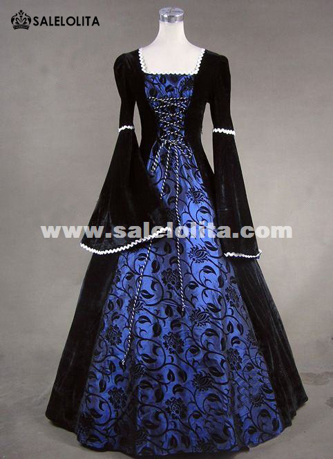 Medieval Victorian Queen Renaissance Fair Velvet Blue Floral Print Brocade Ball Gown Dress Reenactment Clothing