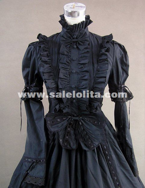 Black Cotton Victorian Gothic Period Dress Ball Gown Reenactment Steampunk Costume