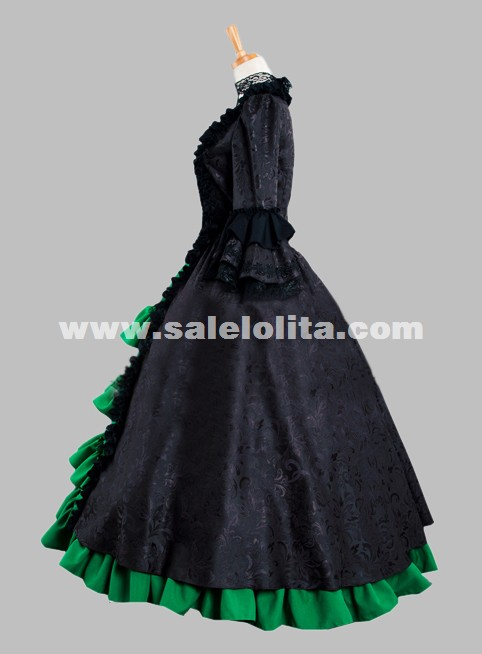 Black And Green Renaissance Medival Velvet Gothic Victorian Dress Ball Gown Reenactment Theatre Costume