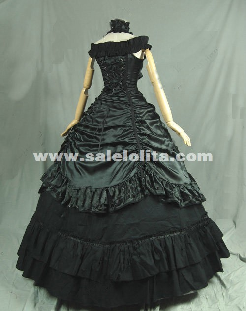Black Victorian Period Dress Women Vampire Party Ball Gown Theatre Costume