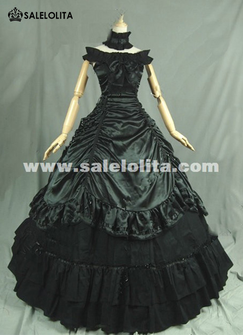 Black Victorian Period Dress Women Vampire Party Ball Gown Theatre ...