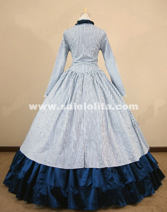 White Striped Cotton Southern Belle Costume Medieval Civil War Victorian Dress For Women