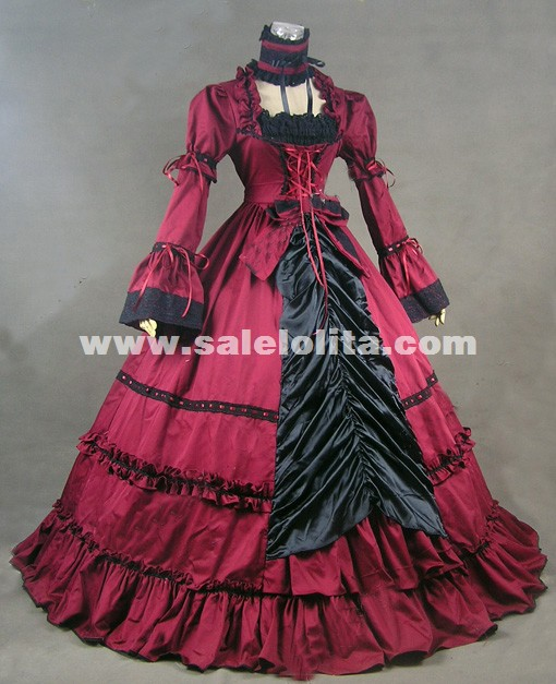Hot Sale Red Cotton Renaissance Civil War Gothic Victorain Dress Halloween Party Costume