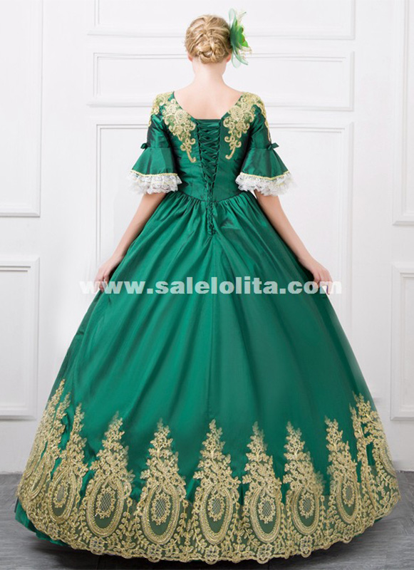Hot Sale Green And Wine Red Satins Embroidered Rococo Marie Antoinette Party Dress