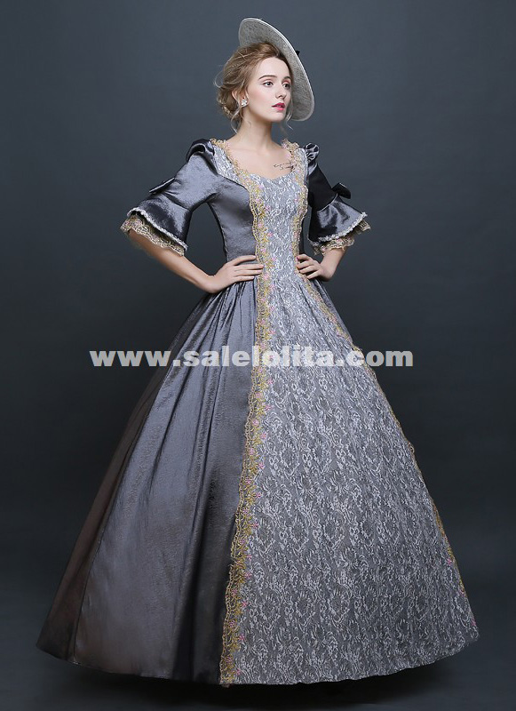 Fashion Gray Vintage Southern Belle Dress Civil War Marie Antoinette Ball Gowns