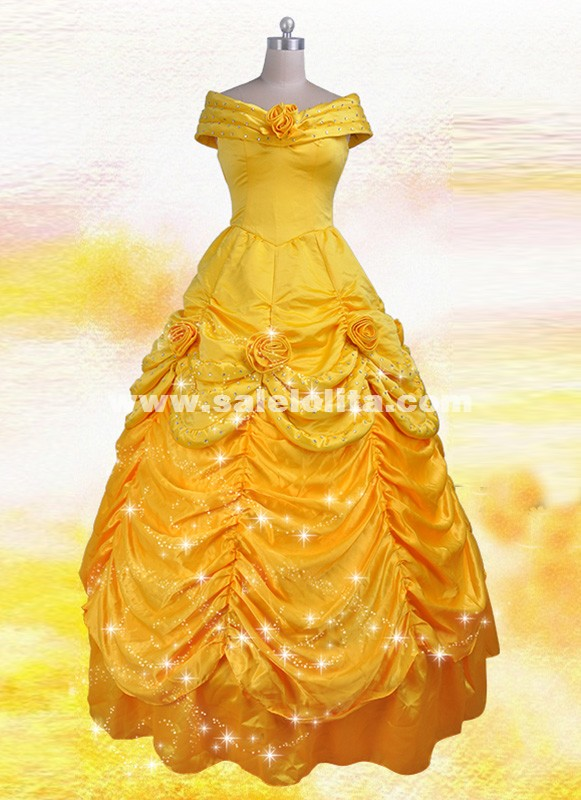 Adult Beauty And The Beast Cosplay Bella Costume Yellow Belle Princess Dress Halloween Costumes