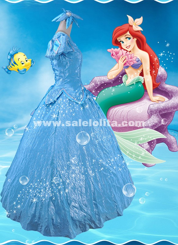 Adult Blue Satins Green Fairy Tales The Little Mermaid Princess Ariel Cosplay Dress Halloween Costume