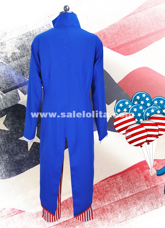Six-Pieces Amercian Uncle Sam Cosplay Jacket Costume Men Halloween Cosplay Coat Costume