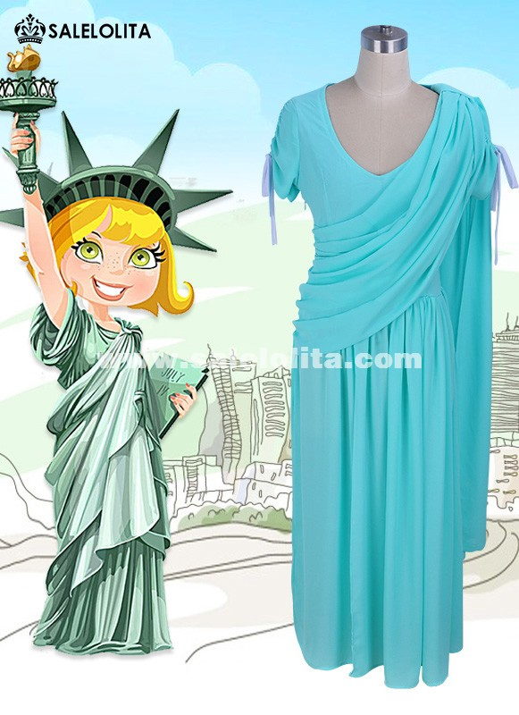 Women Statue Of Liberty Goddess Cosplay Dress Sexy Chiffon Evening Party Dress Halloween Costume