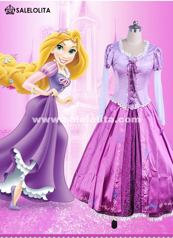 Adult Rapunzel Fancy Dress Anime Cosplay Costume Purple Princess Fairytale Tangled Printed Lace Dress