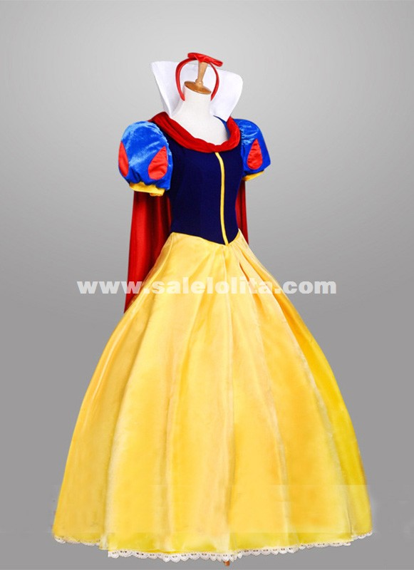 yellow Snow White Princess Dress Adult Carnival Halloween Birthday ...