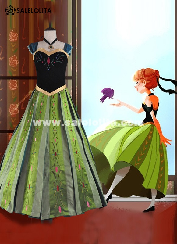 Adult Snow Queen Anna Dress Halloween Princess Anna Coronation Costume Movie Fancy Dress For Women
