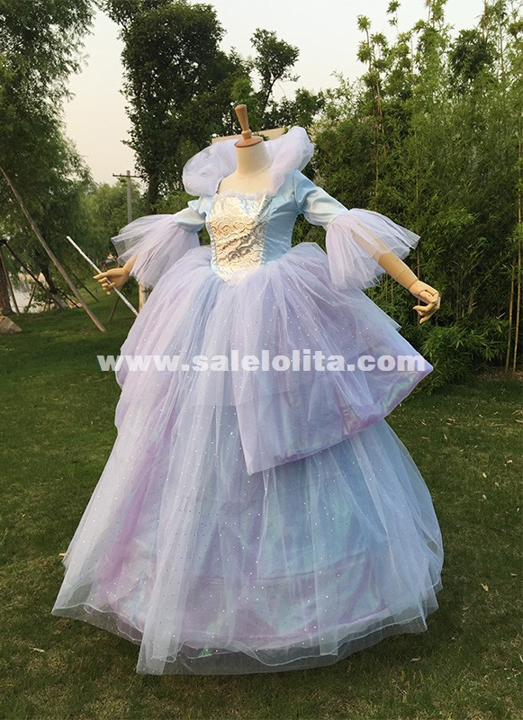 Adult Women Princess Cinderella Costume Long Fairy Godmother Cosplay Dresses Halloween Costume