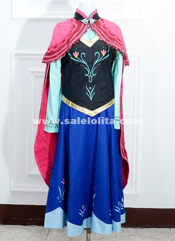 Adult Princess Elsa Anna Dress For Women Fantasy Snow Queen Anna Cosplay Costume For Halloween