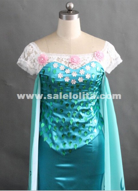 Hot Sale Printed Elsa Birthday Cosplay Costume for women Adult Elsa Cosplay Dress Halloween Party Costume