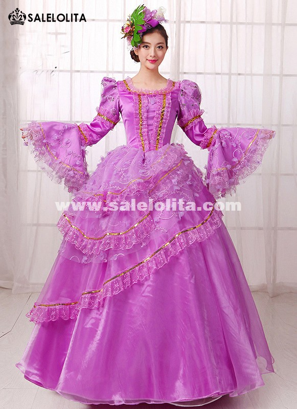Purple Lace Muliti-Layer Princess Lolita Party Dress Southern Belle Marie Antoinette Ball Gown