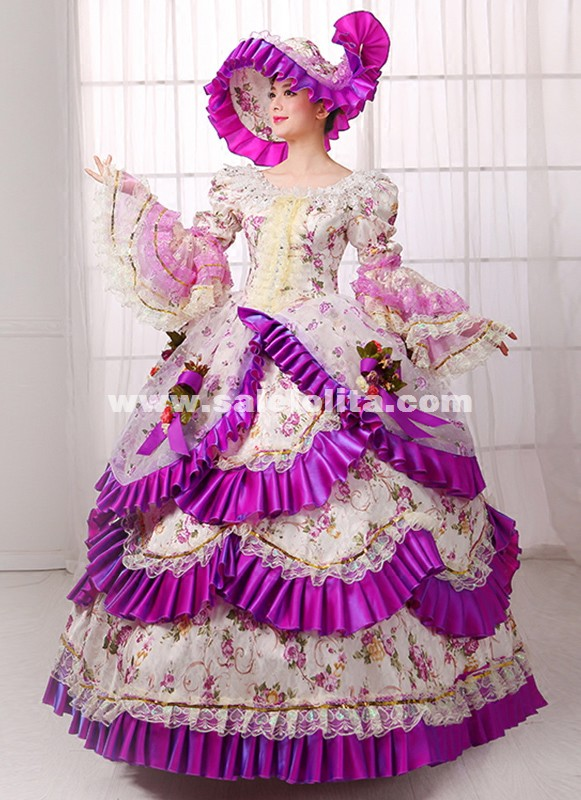 Purple Britain 18th Century Belle Ball Gown Renaissance Medieval Marie Antoinette Rococo Dress