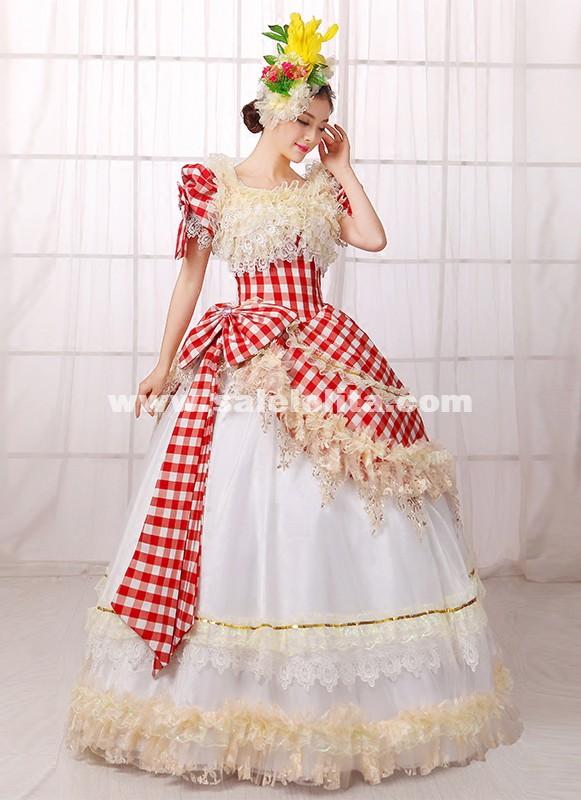 Red Plaid Southern Belle Lolita Dress 18th Century Renaissance Medieval Marie Antoinette Rococo Dress
