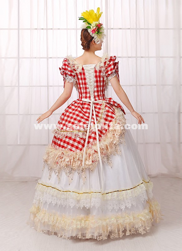 Red Plaid Southern Belle Lolita Dress 18th Century