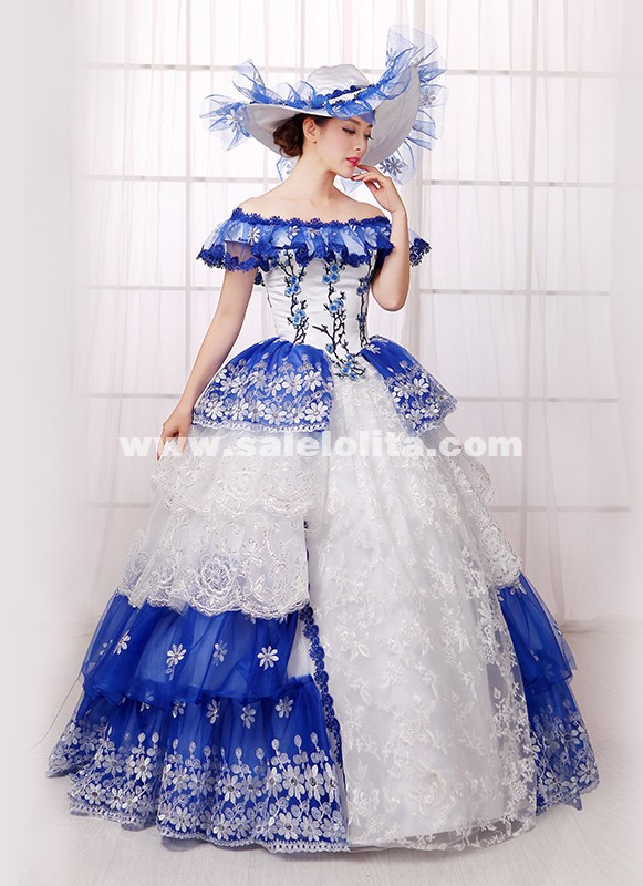 Blue Print Off The Shoulder Southern Belle Ball Gown Queen Princess Marie Antoinette Rococo Victorian Dress Dance Vestido