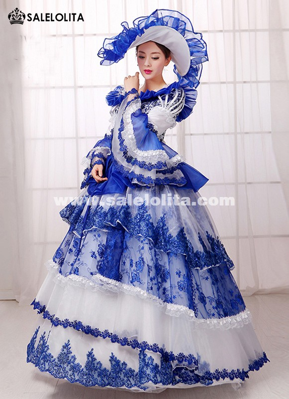 Blue Print Southern Belle Rococo Marie Antoinette Queen Princess ...