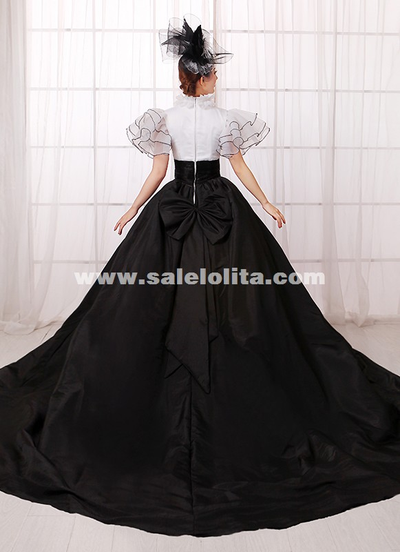 Europe Black And White Punk Southern Belle Rococo Marie Antoinette Queen Princess Gothic Ball Gown Dress