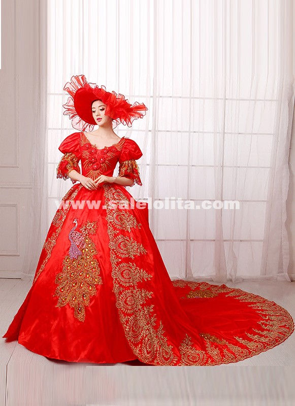 Red Renassiance Medieval Rococo Marie Antoinette Wedding Party Dress Women Histerical Ball Gowns