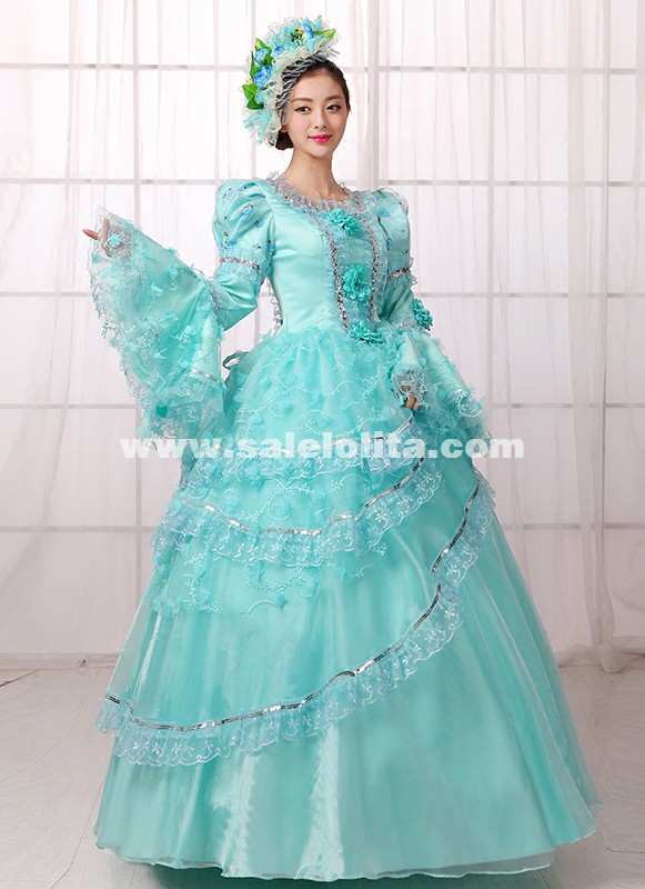 Vintage Blue Medieval Renassiance Rococo Marie Antoinette Party Dresses For Women