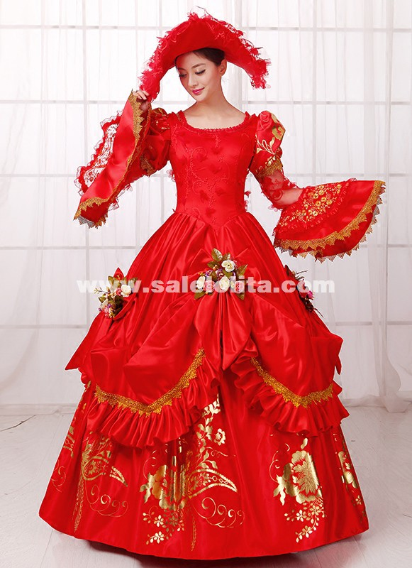 Vintage Red Printed Medieval Renassiance Rococo Marie Antoinette Wedding Party Dress For Women
