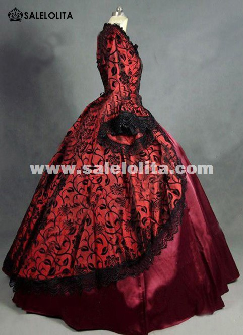 Red Floral Brocade Colonial Victorian Prom Ball Gown Dress ...