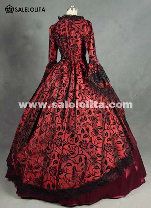 Floral Brocade Colonial Victorian Prom Ball Gown Dress Reenactment ...